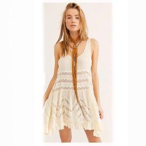 Free People | Voile Lace Trapeze Mini Dress Small